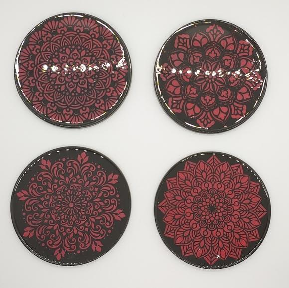 Mandala Coasters Set Black w/ Red